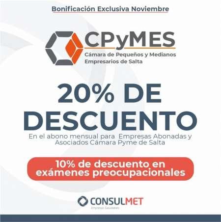NoviembreenConsulmette traemos un nuevo beneficio: 20% off en el abono mensual para empresas abonadas y asociadosde Cámara pymesSalta